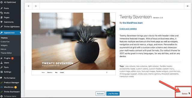 Delete WordPress Themes 2