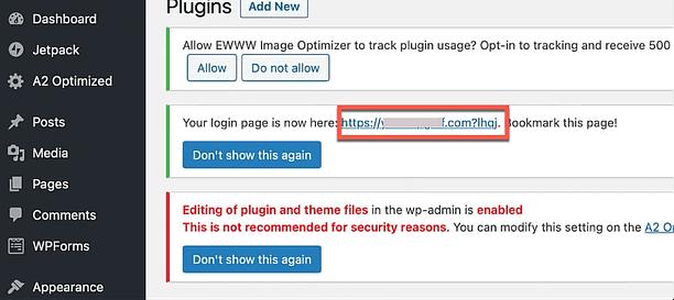 hide admin login