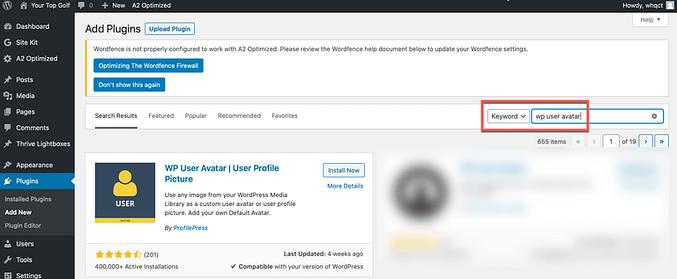 WP user avatar install